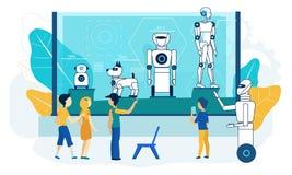 Exposition de robot Démonstration de technologie de musée plat illustration stock