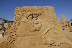 EXPOSITION DE SCULPTURES EN SABLE : HUNDESTED HABOUR Photographie stock libre de droits