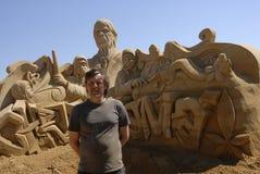 EXPOSITION DE SCULPTURES EN SABLE : HUNDESTED HABOUR Images libres de droits