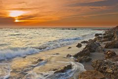 Exposition de temps des vagues sur le Golfe du Mexique image libre de droits