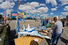 Exposition des modèles qui a réussi tout seul des avions militaires Photo libre de droits