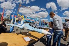 Exposition des modèles qui a réussi tout seul des avions militaires Image libre de droits