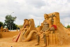 Exposition des sculptures en sable Image libre de droits