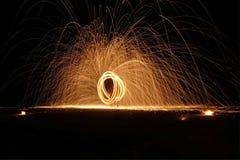 Exposition du feu au samet de KOH Photo stock