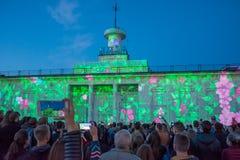 exposition du laser 3d sur la place de Poshtova dans Kyiv, Ukraine 05 14 2017 éditorial Image stock
