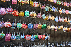 Exposition of earrings with moorish designs, Granada Royalty Free Stock Image