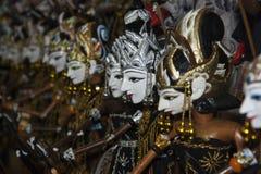 Exposition en bois de Pupets de Java occidental Images stock