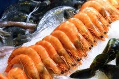 Exposition-fenêtre des fruits de mer Photo libre de droits
