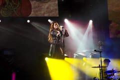 Exposition gitane de coeur de Miley Cyrus au Brésil Images stock