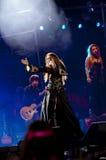 Exposition gitane de coeur de Miley Cyrus au Brésil Photo libre de droits
