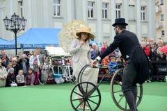 Exposition historique de bicyclette Photographie stock