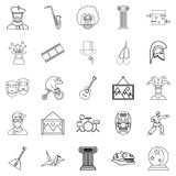 Exposition icons set, outline style. Exposition icons set. Outline set of 25 exposition vector icons for web isolated on white background Royalty Free Stock Photography