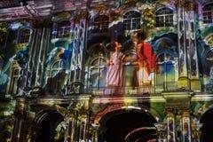 exposition Lumière-musicale sur les murs de l'ermitage d'état Images libres de droits
