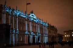 exposition Lumière-musicale sur les murs de l'ermitage d'état Image stock