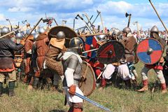 Exposition médiévale Voinovo Polonais (le champ de bataille des guerriers) Photos stock