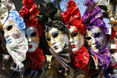 Exposition of masks of venice. Masks exposed at market carnival of venice Royalty Free Stock Photos