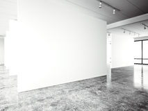 Exposition modern gallery,open space. Blank white empty canvas contemporary industrial place.Simply interior loft style. With concrete floor,panoramic windows Stock Image
