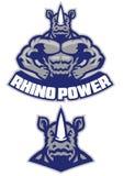 Exposition musculaire de mascotte de rhinocéros son corps sportif illustration de vecteur