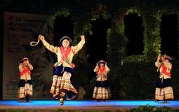 Exposition péruvienne spectaculaire de groupe de danse de folklore Photos stock