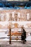 Exposition permanente dans le musée qui a été construit sur le site du temple romain antique dans la ville antique Photographie stock