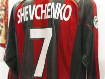Andrey Shevchenko shirt in San Siro museum. At the exposition of San Siro museum. Milan, Italy royalty free stock image