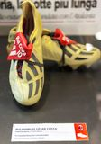 Rui Costa boots in San Siro museum. At the exposition of San Siro museum. Milan, Italy royalty free stock photography