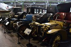 Vintage cars in Beaulieu England. Exposition of shine vintage cars in Beaulieu Car Museum England royalty free stock photo
