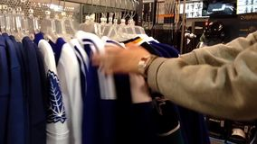 Exposition of sport shirt stock video footage