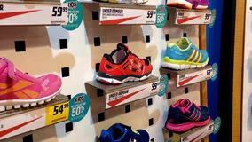 Exposition of sport shoes stock video