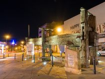 Antique wine press monument night view Stock Photos