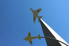 Exposition. Two planes on the blue sky background. Zelenogorsk, Krasnoyarsk region Stock Photos
