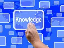 Expositions d'écran tactile de la connaissance apprenant l'éducation et l'intelligence Images libres de droits
