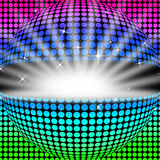 Expositions de fond de boule de disco rougeoyant colorées et matraquage illustration stock