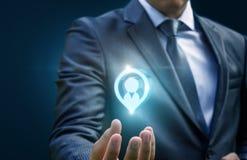 Expositions de main d'homme d'affaires dans le client de cible Image libre de droits