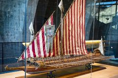 Expositions in the naval museum located in the city`s port in the old ship of building trusts and the naval corps of the Port Vell Royalty Free Stock Photography