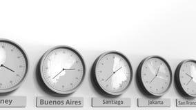 Expositions Santiago, temps d'horloge de Santiago de Chile parmi différents fuseaux horaires Animation 3D conceptuelle banque de vidéos