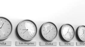 Expositions temps d'Osaka, Japon d'horloge parmi différents fuseaux horaires Animation 3D conceptuelle banque de vidéos