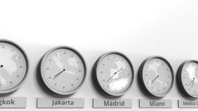 Expositions temps de Madrid, Espagne d'horloge parmi différents fuseaux horaires Animation 3D conceptuelle banque de vidéos