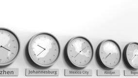 Expositions temps de Mexico, Mexique d'horloge parmi différents fuseaux horaires Animation 3D conceptuelle banque de vidéos