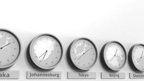 Expositions temps de Tokyo, Japon d'horloge parmi différents fuseaux horaires Animation 3D conceptuelle clips vidéos