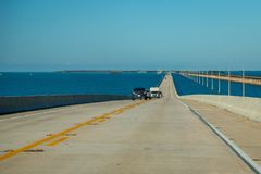 Driving on Florida Keys. Exposure done in this beautiful island of the Keys, USA.Shot with Canon 5D Mark III, and low ISO, lightly processing for taking royalty free stock photography