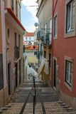 Typical Street of Lisbon, Portugal cityscape at the Alfama District. stock images