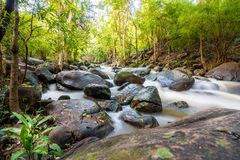 Waterfall and water flowing through rocks Royalty Free Stock Photos