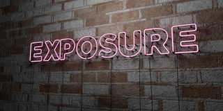 EXPOSURE - Glowing Neon Sign on stonework wall - 3D rendered royalty free stock illustration. Can be used for online banner ads and direct mailers stock illustration