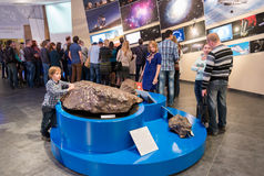 Exposure meteorite in Urania museum of Moscow Planetarium, Russia Royalty Free Stock Image