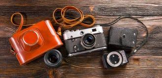 Exposure meter and retro camera Royalty Free Stock Photo