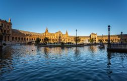 Plaza de España in Seville, Spain. Exposure of the Plaza de España in Seville, Spain, during Springtime before sunset Royalty Free Stock Image