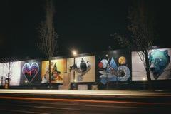 Expousre Hamburgs Reeperbahn Streetart Art Time Birne stockbild