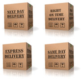Expres delivery shipment cardboard box shipping. Express delivery fast sending speed parcel posting next or same day or right on time shipping cardboard box vector illustration
