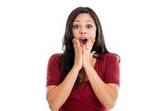 Expresión chocada de la mujer Imagen de archivo